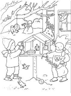 Coloring Sheets For Kids, Colouring Pages, Feeding Birds In Winter, Crochet Applique Patterns Free, Winter Quilts, Christmas Coloring Pages, Mandala, Winter Art, Christmas Colors
