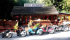 One of the best stops along your tour south of San Francisco, whether it's garlic fries, a Jalopy burger, or a Mexican scramble, you can get anything you want ... at Alice's Restaurant.  On the nice weekends it can be full of bikers so be sure to spend some time chatting with the locals and admiring the variety of rides :)