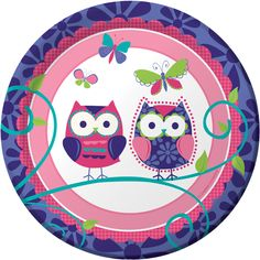"""Owl"" meet you at the buffet table! Owl Pal Birthday 7 inch Dessert Plates in the colors of pink, purple, teal, and green feature two wise owl friends ready to join in the fun. Plates coordinate with the Owl Pal Birthday theme and have delightful accents like a flower patterned border, curly leafed branches, and colorful butterflies. Each package contains 8 plates."