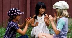 Young girls playing outdoors at the Legacy, an international summer community for youngsters 9-18, near Bedford, Virginia, United States. UN Photo/John Isaac