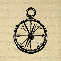 Printable Image Antique Compass Graphic Illustration Digital Download Vintage Clip Art. Vintage high quality digital graphic. This printable digital illustration is high resolution for printing, iron on transfers, papercrafts, and more. Great for use on etsy items. This image is large and high quality, size 8½ x 11 inches. Transparent background version included with every graphic.