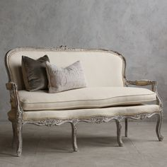 Eloquence One of a Kind Vintage Settee Louis XV Distressed Oyster @Layla Grayce