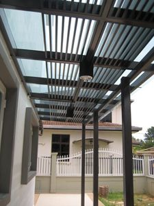 (CP-R015) Glass canopy with baffles for sun