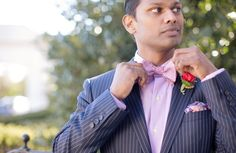 Valentine's Day inspiration shoot from Dogwood Events. Photography by Kristen Gardner Photography. Suit from Christopher Schafer Clothiers. #Valentine #wedding #groom #red #blue #pink #Virginia #boutonniere #bow #tie