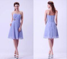 Prom Dress,Lavender Prom Dress, Strapless Prom Dress, Chiffon Prom Dress,Above Knee Prom Dress,Emp on Luulla