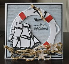 Winner and Favourites - Use at least 2 dies Masculine Birthday Cards, Handmade Birthday Cards, Masculine Cards, Nautical Cards, Nautical Theme, Marianne Design Cards, Beach Cards, 3d Laser, 3d Cards