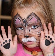 Kitty Face paint with paws and a color too!