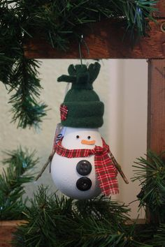 Snowman Christmas Tree Ornament - made from a recycled lightbulb (J)