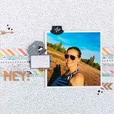 Layout - Hey! mit Kork Akzenten von Nikki Kehr Nimena #scrapbooking #scrapbook #scrapbooklayout #studiocalico