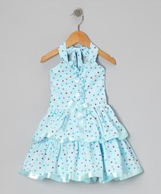 Take a look at this Blue Polka Dot Surplice Halter Dress - Toddler & Girls by Lele for Kids on #zulily today!