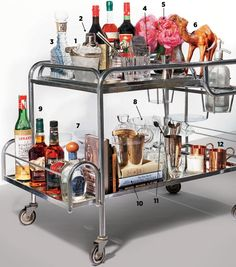 Home bar - ice cubes [1]; cobbler shaker [2]; vintage bottle [3]; mixing glass [4]; pitcher [5] or Champagne bucket; decorative extras [6]; coupe [7]; punch set [8]; spirits, [9]; book [10]; Spoons [11]; copper mugs [12].