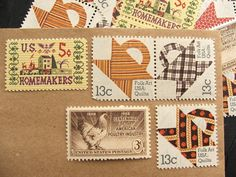 Unused vintage stamps can be used as postage for wedding invites ... from Etsy store