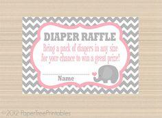 Elephant Baby Shower, Digital Diaper Raffle Tickets, Pink and Grey Chevron on Etsy, $5.00