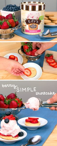 To create this summer recipe for Berry Simple Shortcakes, all you need are shortbread cookies, fresh berries, and Edy's Slow Churned Simples Recipes—made with real, simple ingredients. It's fun to make this easy dessert treat together with your family! Simply layer sliced strawberries onto a cookie, scoop strawberry ice cream on top and let the kids decorate with more berries.