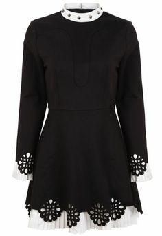 Black Stand Collar Long Sleeve Rivet Hollow Dress