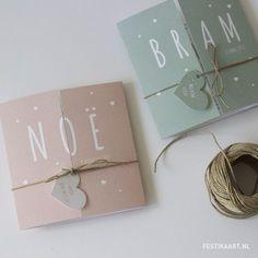 Lief luikvouw tweeluik geboortekaartje hartjes labels tags jongen meisje