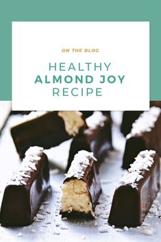 These healthy Almond Joys prove that healthy eating is delicious. Featuring Cacao Bliss, these candies are like no other sweet treat you have had before. Healthy Candy, Healthy Treats, Vegan Treats, Candy Recipes, Dessert Recipes, Desserts, Danette May, Almond Joy, Sugar Cravings