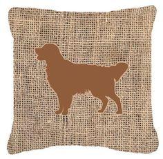 Golden Retriever Burlap Indoor/Outdoor Throw Pillow