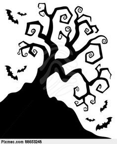 paper cut border of scary trees - Google Search