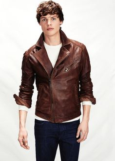 H.E. BY MANGO - Leather biker jacket #Menswear #FW14 #Leather