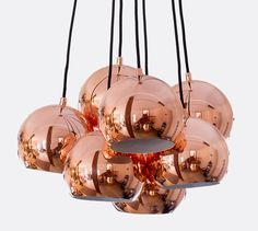 A cluster of copper Koge ball lamps in a beautiful copper finish.