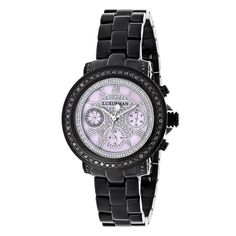 Introducing a unique Luxurman Black Diamond Watch from our Ladies Diamond Watches collection; showcases 2.15 carats of sparkling black diamonds. This Luxurman black diamond watch for women features a pink dial paved in sparkling stones with three subdials, a black tone stainless steel case and a polished black tone stainless steel band. What a unique gift for a special occasion!