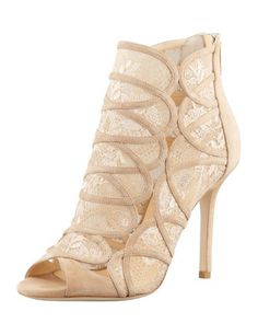 Fonda Lace-Suede Peep-Toe Bootie, Nude by Jimmy Choo at Bergdorf Goodman.~~ IN COMPLETE <3 :)
