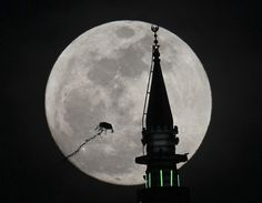 The supermoon rises behind a mosque in Amman, Jordan.