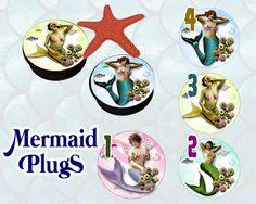 Vintage mermaids ear plugs acrylic individual by KustomwizarT