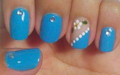 Bela e simples nail art: unhas decoradas filha única esmalte azul, uñas con Diy Nails Cute, Merry Christmas Gif, E Simple, Flower Nail Art, Cute Nail Designs, Easy Nail Art, Simple Nails, Acrylic Nails, Beauty