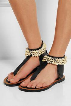 Isabel Marant|Jean shell-embellished leather sandals|NET-A-PORTER.COM