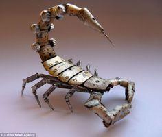 Watch out: Sculptor and jeweller Justin Gershenson-Gates used watch parts to create this fearsome scorpion