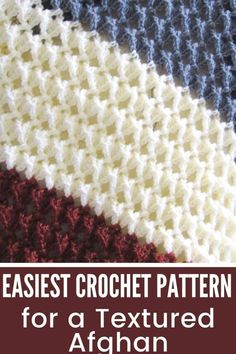 Crochet Stitches For Blankets, Crochet Baby Blanket Free Pattern, Crochet Stitches For Beginners, Crochet Stitches Patterns, Different Crochet Stitches, Simple Crochet Blanket, Free Easy Crochet Patterns, Crochet Afghans, Crochet Tutorials
