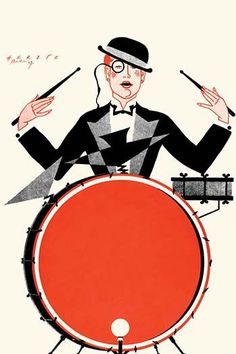 A dapper gentleman with a monocle and a thirties deco outfit plays a drum set.