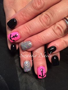 Shellac anchor nail art, without the anchor