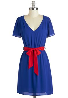 Keep Your Cobalt Dress - Mid-length, Blue, Red, Belted, Casual, A-line, Short Sleeves, V Neck, Solid, Work, Minimal