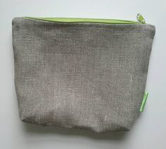 Essentials, Linen Bag, Toiletry Bag, Green Cotton, Organizer, Medium, Zipper Pouch, Cotton Fabric, Coin Purse