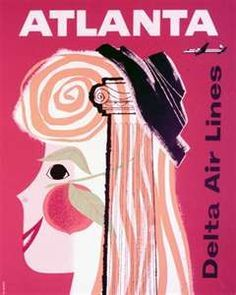 Atlanta In Vintage Airline Travel Posters - Sunshine Skies Airline Travel, Travel Usa, Air Travel, Atlanta Travel, Vintage Magazine, Vintage Travel Posters, Vintage Airline, Poster Vintage, Illustrations