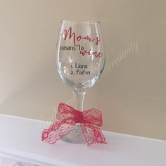 Personalized Wine Glass, Mother's Day Gift, Custom Wine Glass, Gift for Mom, Gift for Grandmother by AnchorInCreativity on Etsy