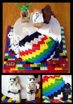 "Star Wars Lego Cake - 6"" gluten free chocolate cake, sliced strawberry filling, chocolate icing"