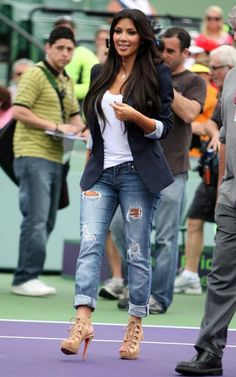 Kim Kardashian wearing Christian Louboutin Miss Fortune Platform Sandals in Tan Elizabeth and James Slick Suiting Elizbeth IV Blazer Nation Ltd. Palm Springs Snakeskin Tank Bebe 2b Skinny Kitty Star Jean  Miami Open Tennis Tournament March 29 2010
