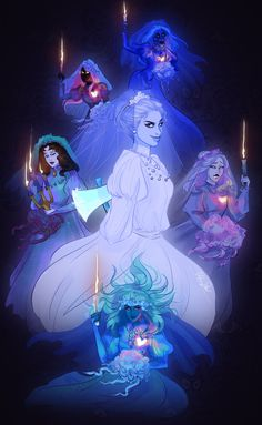 brides of the haunted mansion by art of urbanstar Haunted Mansion Disney, Haunted Mansion Tattoo, Haunted Mansion Wallpaper, Disney Rides, Disney Parks, Walt Disney, Disney And Dreamworks, Disney Pixar, Disney Horror