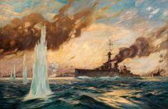 Battle of Jutland Part III: Clash between British and German Battle Fleets during the evening May 1916 World War One, First World, Ww1 Pictures, Battle Fleet, Ww1 Art, Man Of War, Naval History, Military Art, Military History