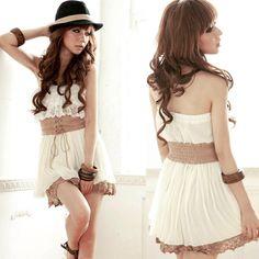 Sexy Sweet Women #Strapless Tiered Lace Crochet Hem Mini #Dress White #Lace Up