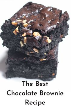 The Best Brownie Recipe, fudgy, simple, and easy to make. Homemade brownies with chocolate and cocoa powder. Perfect chocolate walnut brownie Fudge Brownies, Beste Brownies, Homemade Brownies, Chocolate Brownies, Best Chocolate Brownie Recipe, Walnut Brownie Recipe, Homemade Chocolate, Chocolate Recipes, Easy Desserts