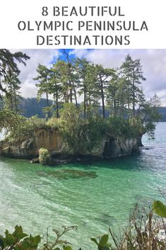 Sea stack covered in trees and surrounded by shallow water on Olympic Peninsula road trip Seattle Vacation, Vacation Trips, Vacations, Vacation Ideas, Places To Travel, Places To See, Travel Destinations, Camping Places, Shallow Water