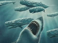Megalodon. This dude was the ultimate king of the ocean. T Rex was land... Megalodon was water