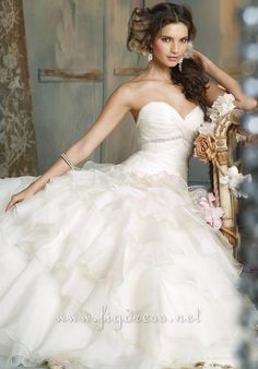 Ball Gown Floor Length Attached Silk Organza Beading Wedding Dress Style