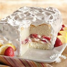 #Strawberry-Lemon Angel Food #Cake from Eagle Brand®