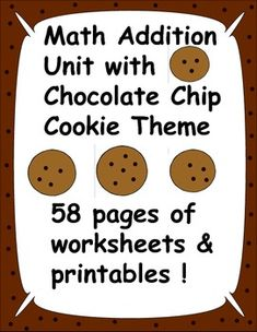 This is an addition unit with a chocolate chip cookie theme.  There are 58 pages in this fun download filled with black and white worksheets and colored printables.  There are cookie addition cards which cover the addition facts 0 to 9, number identification cards, and worksheets for practice.  Fun for whole group instruction, individual work, or centers!